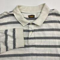 The Foundry Polo Shirt Men's Size 3XL XXXL Long Sleeve White Gray Striped Cotton