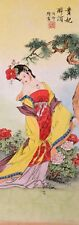 STUNNING ORIENTAL ASIA FINE ART CHINESE FIGURE WATERCOLOR PAINTING-Beauty&Flower