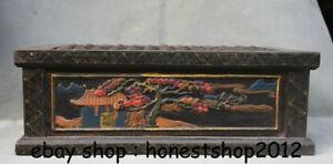"16,4 ""Chinese Wood Lackiererei Dynasty Pine Tree House, das Rahmenabakus zählt"