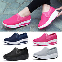Women Wedge Shoes Platform Sneakers Casual Loafers Slip On Mesh Breathable Size