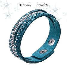 Teal Swarovski Elements Rhinestone Slim Bracelet by Harmony Bracelets