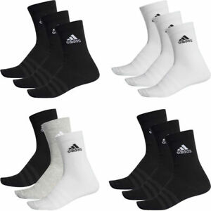 Adidas Mens Womens 3 Pairs Pack Socks Cushioned Crew Socks Black White Multi