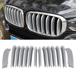 14Pcs Car Front Center Grille Trim Strip ABS Cover for X5 X6 F16 F15 2014-18