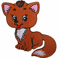 Fox Iron On Patch / Sew On Embroidered Animal Badge Cute Cat Embroidery Applique
