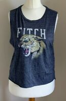 Ambercrombie & Fitch Size M Ladies Sleeveless Blue Top With Fitch & Tiger Print