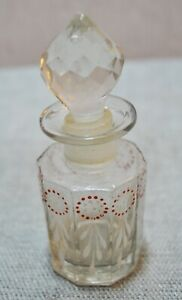 Original Old Vintage Hand Crafted Painted Clear Glass Perfume Bottle