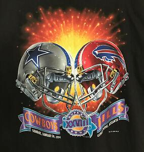 Vintage SUPER BOWL XXVIII T SHIRT SZ L 1994 NFL Dallas Cowboys Buffalo Bills NEW