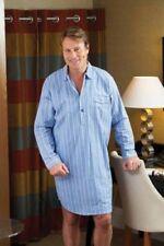 Pijamas y batas de hombre de manga larga en azul 100% algodón
