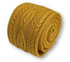Frederick Thomas De punto de seda MENS corbata-Oro amarillo mostaza-Cable de punto liso