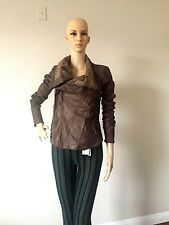RICK OWENS Brown  Biker/Moto Womens Leather Jacket sz 42 Made In Italy