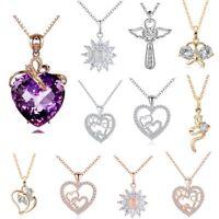 Fashion Crystal Zircon Heart Flower Cross Charm Pendant Necklace Women Jewelry
