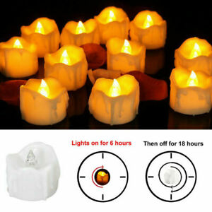 1-24X Flameless LED Candle Flickering Tea Light Battery Operated Lamp with Timer