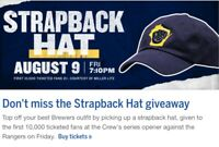 2019 MILWAUKEE BREWERS STRAPBACK HAT SGA STADIUM ONLY CAP AUGUST 9 FREE SHIP