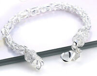 Father's Day 925 Sterling Silver Mens Dragon Link Chain Wide 6mm Bracelet D461