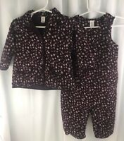 Baby Gap Infant Girl Purple Flowered Corduroy Romper & Shirt Outfit 12-18 Months