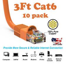 3Ft Cat6 Ethernet Cable Lan Network Cat6 Internet Modem Rj45 Patch Cord Orange