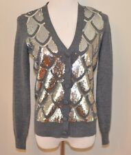 Milly Gray Silver Sequin Wool Full Length Sleeves Cardigan Sweater Size Small