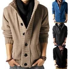 Mens Button Down Knitted Cardigan Winter Warm Sweaters Coat Jacket Tops Knitwear