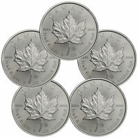 Lot of 5 - 2020 Canada 1 oz Silver Maple Leaf $5 Coins GEM BU SKU59991