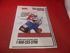 Nintendo NES Game Boy Product Maintenance Troubleshooting and Service Guide