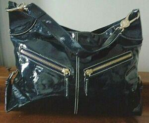 DOONEY& BOURKE navy blue patent leather shoulder bag