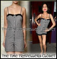 BNWT Fred Perry Amy Winehouse RARE Gingham Check Black White Playsuit Mod UK 14