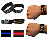 Thin Blue Line & Thin Red Line - Police / Fire UK Service Memorial Wristband