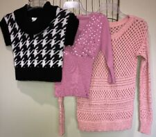 Mixed Lot Top's Black White Pink Sequins Jr Women's M 7-9