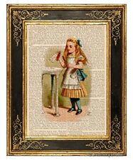 Alice in Wonderland Art Print on Antique Book Page Vintage Illust Drink Me Color