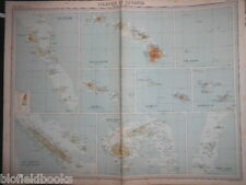 Original Antiquarian Map: Islands of Oceania c1920 Fiji, Hawaii, Tonga, Samoa +