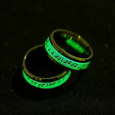 Glow in the dark Stainless steel rings Butterfly and Melody. Green in the dark