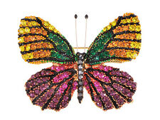 Gems Colorful Party Jewelry Gifts Elegant Butterfly Shaped Pin Brooch Rhinestone