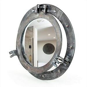 "20"" Rustic Black Grey Porthole Window | Vintage Ship Decor Mirror | Pirate Gift"