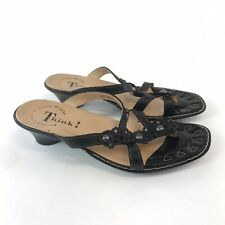 Think! Size 36 UK3 Black Leather Slip On Open Peep Toes Sandals Shoes