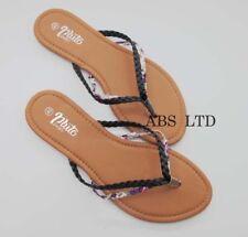 New Ladies Womens Slip On Jelly Diamante Summer Toe Post Sandal Flip Flops Size