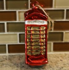 New Pottery Barn RED TELEPHONE BOOTH Phone Christmas Holiday Ornament