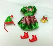 Barbie Sister Chelsea Kelly Doll Clothes Christmas Dress Hat Elf Shoes New