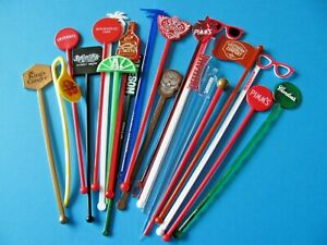 21, New Plastic Cocktail Swizzle Stick Stirrers COLLECTORS Pack. All Different.