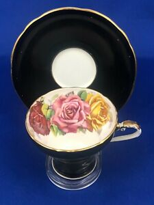 Aynsley Three Big Roses Black Tea Cup & Saucer  Mint Condition