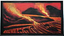 Erich WASKE 1889-1978 Berlin: Vulkan-Ausbruch und Lavastrom Gemälde 48 x 90 cm