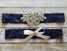 Wedding Garter, Rhinestone Garter Set, Navy Blue Lace, Keepsake &Toss Garter