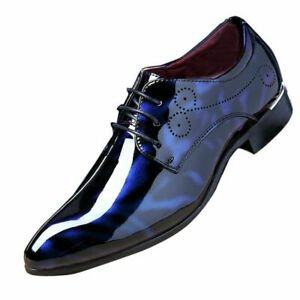Fashion Dress Business Shoe Pointed Toe Floral Patent Leather Lace Up Oxford Men