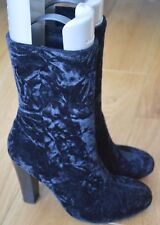 Stunning Next Black Velvet Heeled Ankle Boots. Size 6. Excellent Condition!