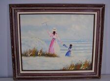 Vtg IMPASTO OIL PAINTING 20x16 Canvas Framed Victorian Era Mother Daughter Beach