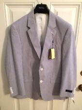 NWT Alan Flusser Navy/White Seersucker Blazer Sports Coat Jacket 48 Long