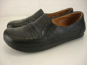 Women's sz 9 B M Kalso Earth Shoe Shake Black Leather Shoes Loafers Slip-On Clog