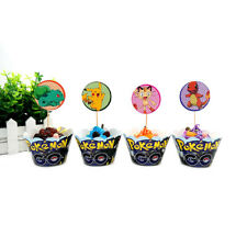 Pokemon Theme 12x Wrappers + 12x Toppers Children Party Cupcake Decoration UK