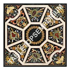 """48"""" Black Marble Dining Table Top Marquetry Italian Inlay Design Home Decor E631"""