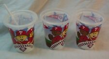 Philadelphia Phillies Baseball SET OF 3 PLASTIC KIDS CUPS W/ 1 LID AND STRAW