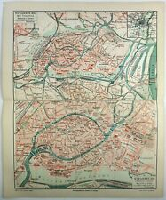 Original 1908 City Map of Strassburg, France Germany by Meyers. Alsace Antique